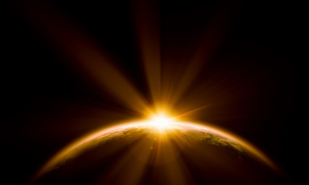Photo pour Planet Earth with appearing sunbeam light  Elements of this image are furnished by NASA - image libre de droit