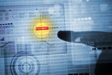 Photo pour Computer concept with binary code  Security and password - image libre de droit
