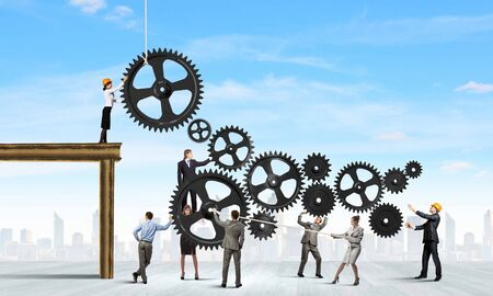 Conceptual image of businessteam working cohesively  Interaction and unity