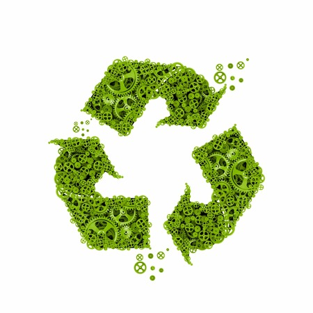 Recycle symbol consisting of cog wheels and gears