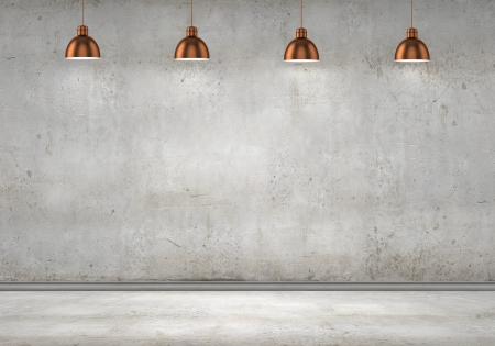 Photo pour Empty room with blank wall and lamps at ceiling - image libre de droit