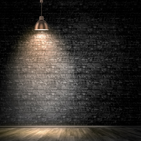 Photo pour Background image of dark wall with lamp above - image libre de droit