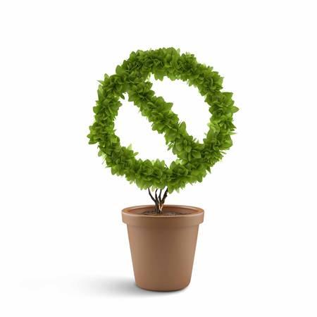 Image of pot plant shaped like prohibition sign