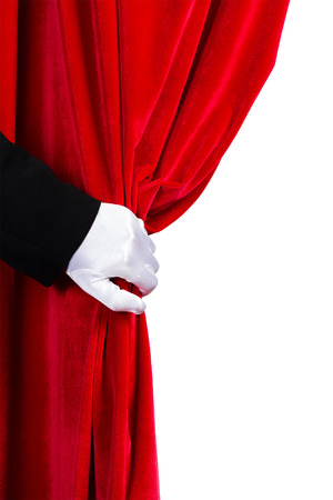 Close up of hand in white glove open the curtain  Place for text