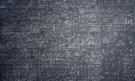 Photo pour Background conceptual image with business sketches on chalkboard - image libre de droit