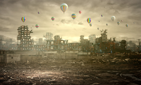 Conceptual image of ruins of destroyed city