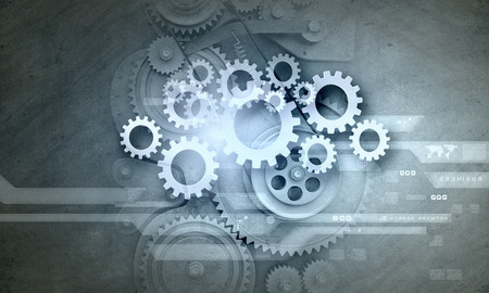 Photo pour Cogwheels and gears mechanism on digital business background - image libre de droit