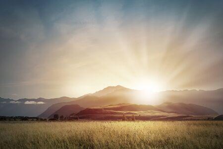 Photo pour Natural landscape beautiful sunrise above mountain top - image libre de droit