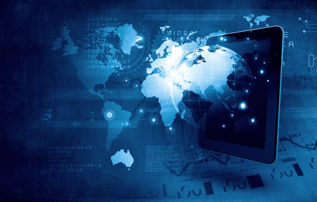 Photo pour Global technologies concept with tablet pc and media icons - image libre de droit