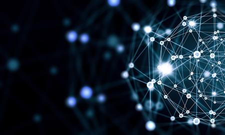 Photo pour Blue virtual technology background with lines and grids - image libre de droit