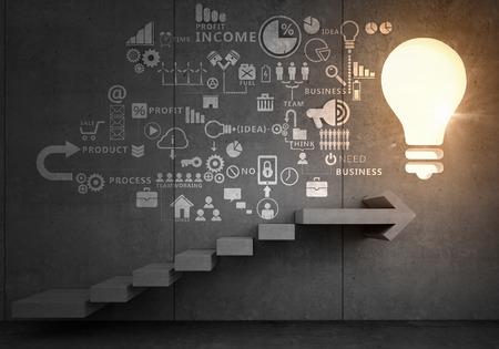 Photo pour Business strategy plan over ladder leading to success - image libre de droit