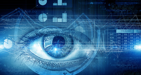 Photo for Close up of human eye on digital technology background - Royalty Free Image