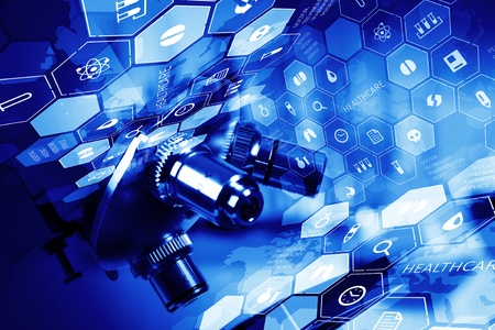 Medical or chemistry digital science background with microscope