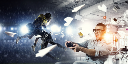 Photo pour Experience the reality of game. Mixed media - image libre de droit