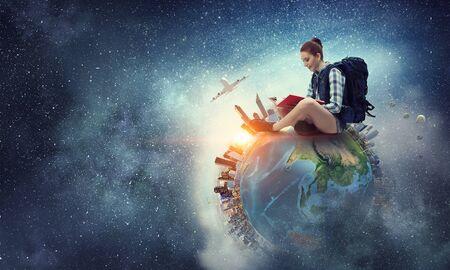 Photo pour Dream to travel around the world. Mixed media - image libre de droit