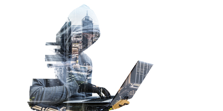 Photo pour Double exposure of hacker man working on laptop and cityscape on white background - image libre de droit