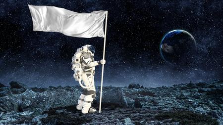 Photo pour Astronaut man with flag in hand. - image libre de droit