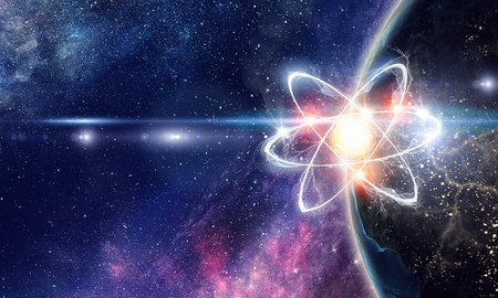 Atom molecule on space background as science concept.
