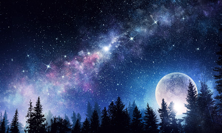Photo for Abstarct natural background with full moon in night sky. Mixed media - Royalty Free Image