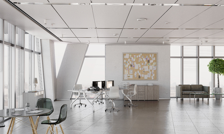 Photo for Stylish and simple office with furniture and no people. Mixed media - Royalty Free Image