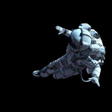 Photo pour Spaceman in white suit on black background. Mixed media - image libre de droit