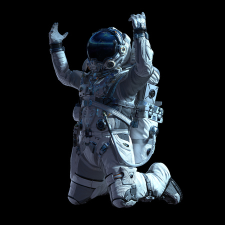 Photo for Spaceman in white suit on black background. Mixed media - Royalty Free Image