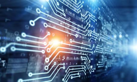 Foto de Technology background with circuit scheme on media backdrop - Imagen libre de derechos
