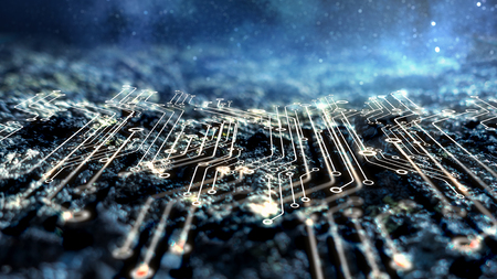 Photo pour Abstract futuristic circuit board and space background - image libre de droit