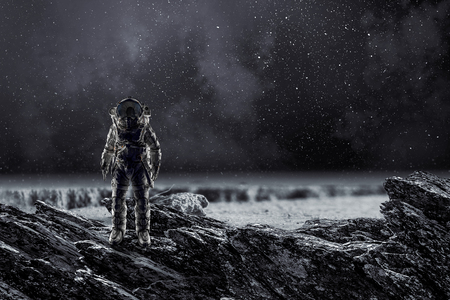 Photo for Spaceman landing planet. Mixed media - Royalty Free Image