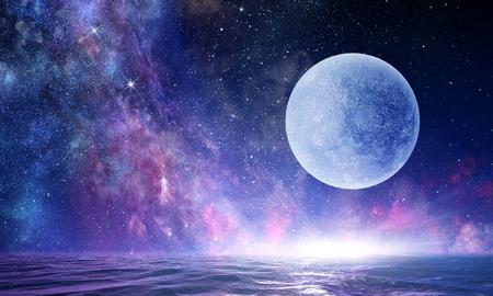 Photo pour Full moon in night starry sky - image libre de droit