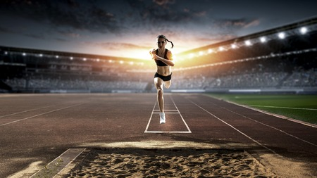 Photo pour Athlete before jump. Mixed media - image libre de droit