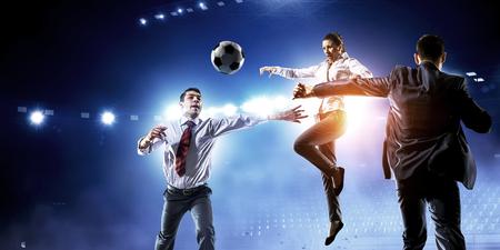 Foto de Playing team games. Mixed media - Imagen libre de derechos