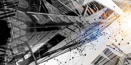 Photo pour Wireless technologies and business city. Mixed media - image libre de droit