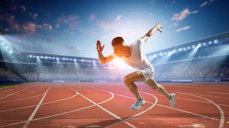Photo pour Sportsman running track. Mixed media - image libre de droit