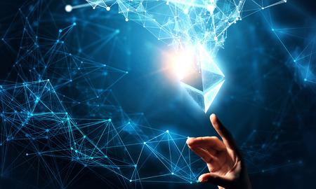 Photo pour Ethereum symbol and connection lines - image libre de droit