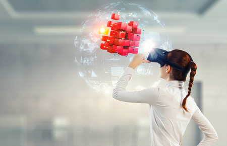 Photo pour Experiencing virtual technology world. Mixed media - image libre de droit