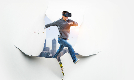 Foto de Virtual reality experience, technologies of the future. Mixed media - Imagen libre de derechos