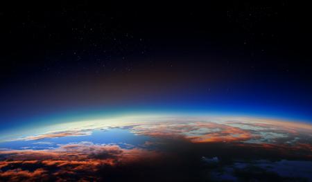 Foto de Sunrise on planet orbit, space beauty - Imagen libre de derechos