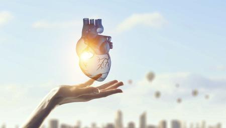 Photo pour Woman s hand showing anatomical heart model. Mixed media. - image libre de droit