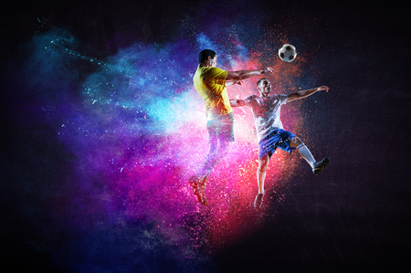 Foto de Soccer players in action. Mixed media - Imagen libre de derechos