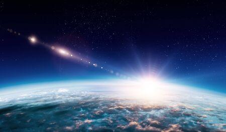 Photo pour Sunrise on planet orbit, space beauty - image libre de droit