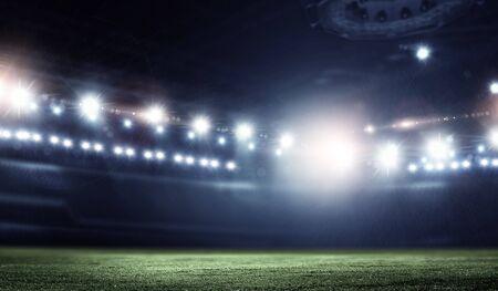 Photo pour Night football arena in lights close up - image libre de droit
