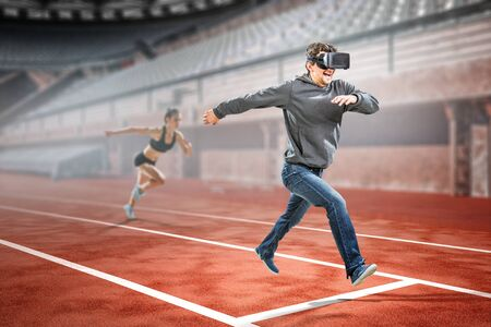 Foto per Virtual reality experience, technologies of the future. Mixed media - Immagine Royalty Free