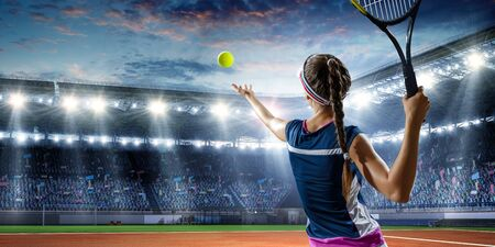 Photo for Young woman in uniform playing tennis in action. Mixed media - Royalty Free Image