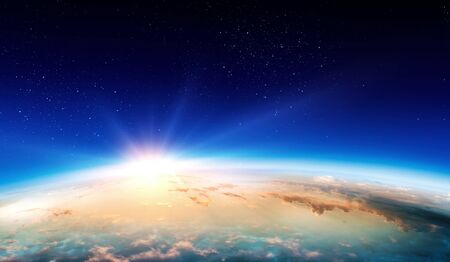 Photo for Earth with sunrise on blue space background - Royalty Free Image