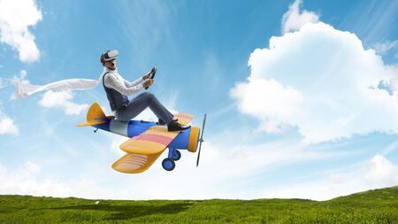 Photo for A man happy travelling on toy vehicle - Royalty Free Image