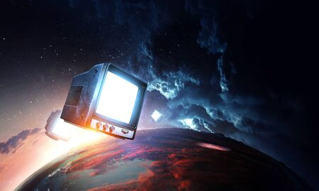Photo for Vintage TV set levitating in space - Royalty Free Image