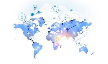 Foto de Background conceptual image with media world map. 3d rendering - Imagen libre de derechos