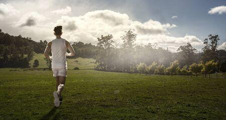 Foto de Sportsman running race. Mixed media - Imagen libre de derechos