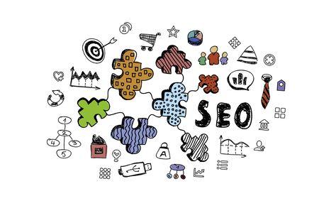 Photo pour Business succes sketched ideas on white background - image libre de droit